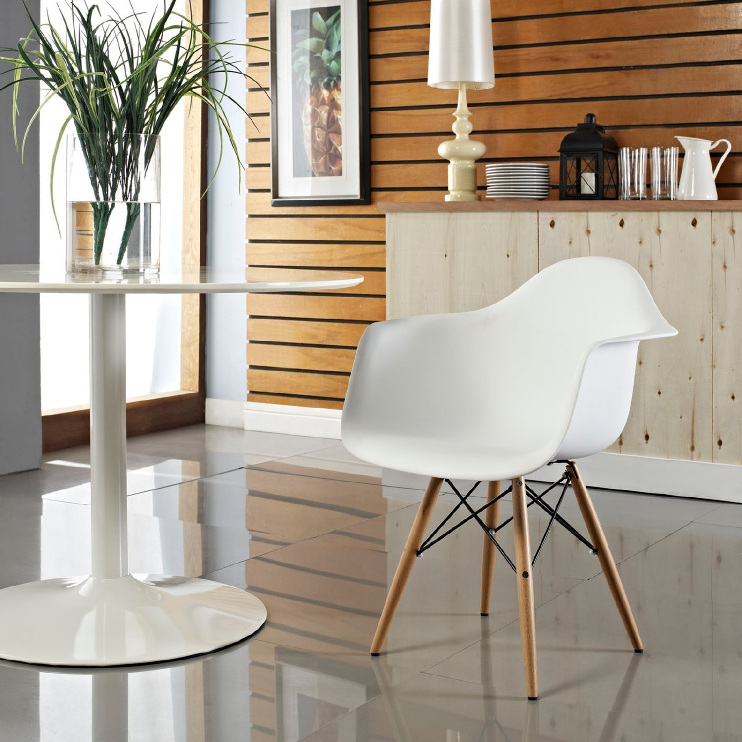 Modern Dining Armchair In White & Wood Base - image-3