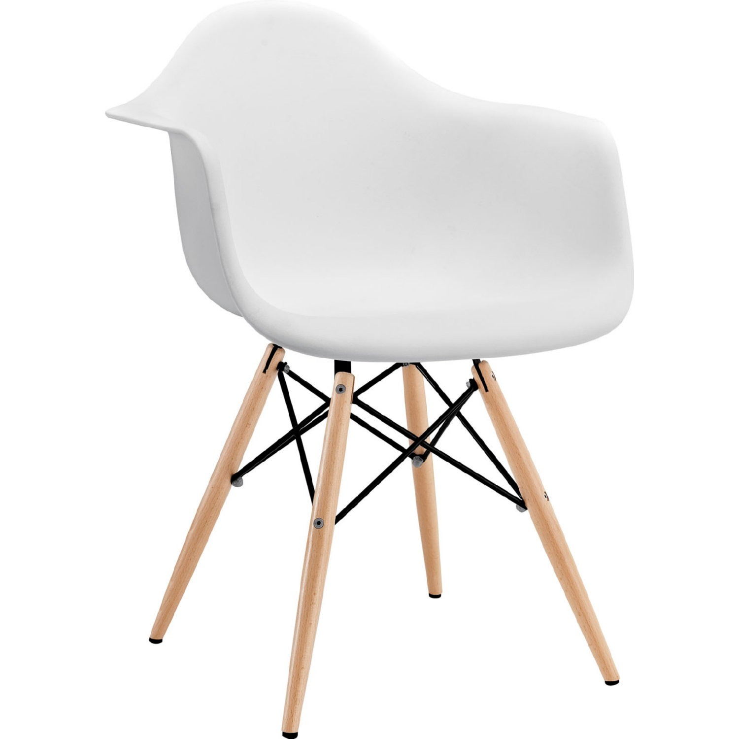 Modern Dining Armchair In White & Wood Base - image-0
