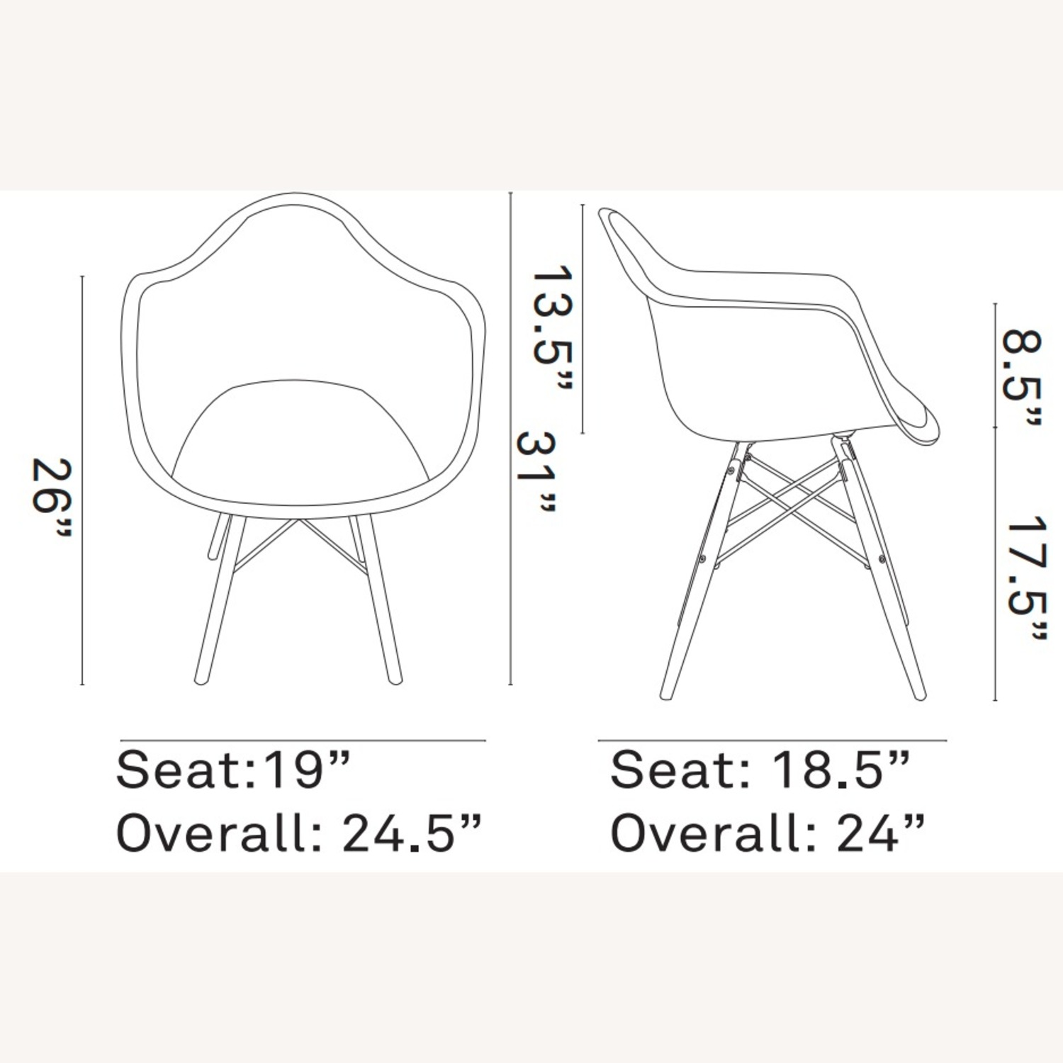 Modern Dining Armchair In White & Wood Base - image-4
