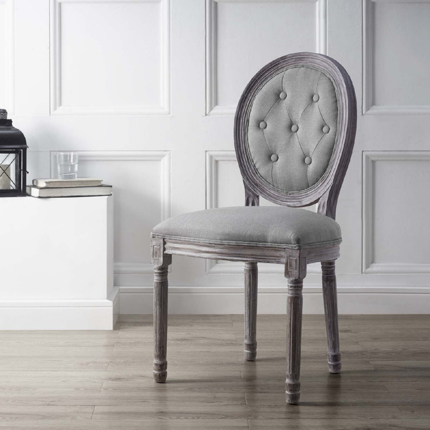 Traditional Dining Chair In Light Gray Finish - image-4