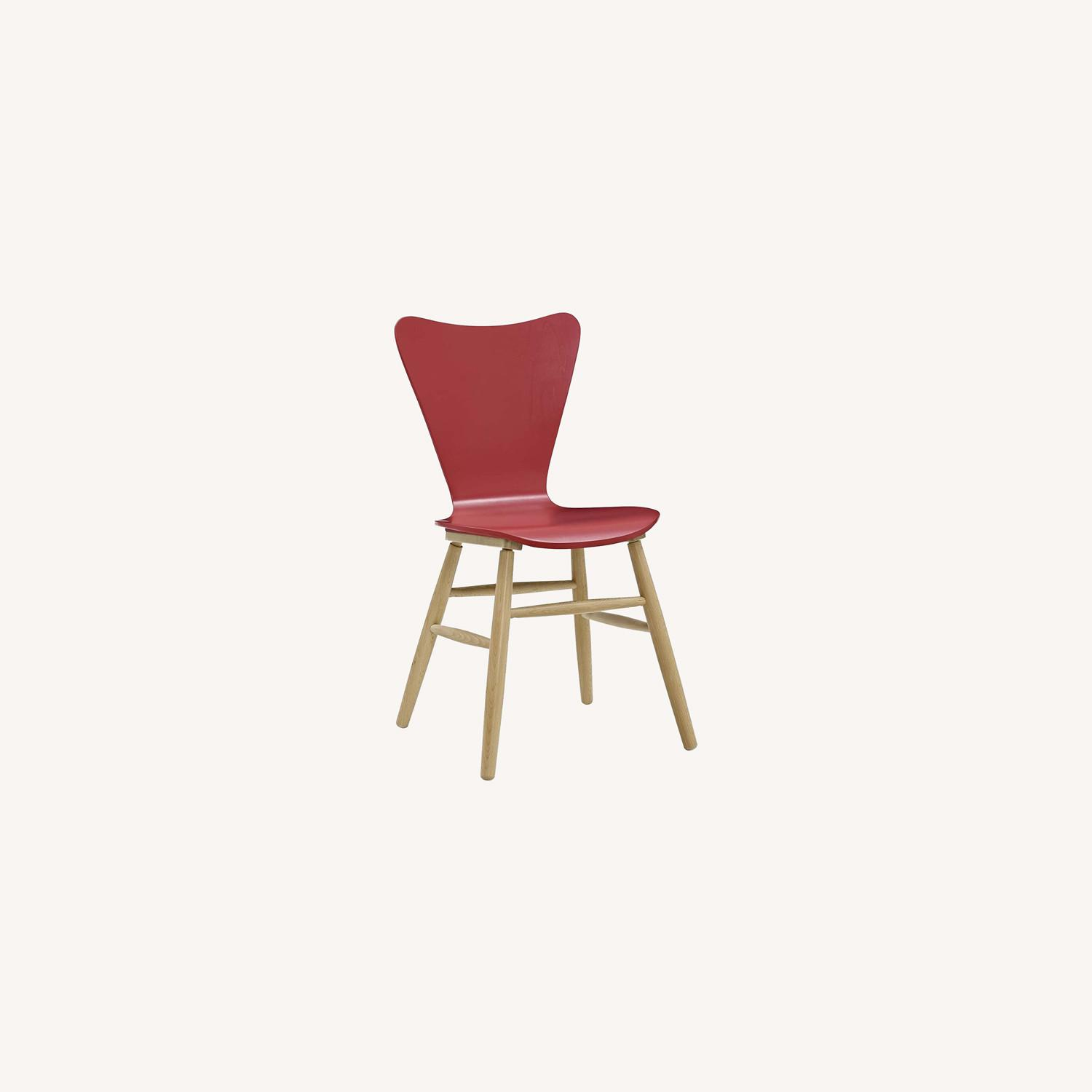 Mid-Century Style Dining Chair In Red Finish - image-4