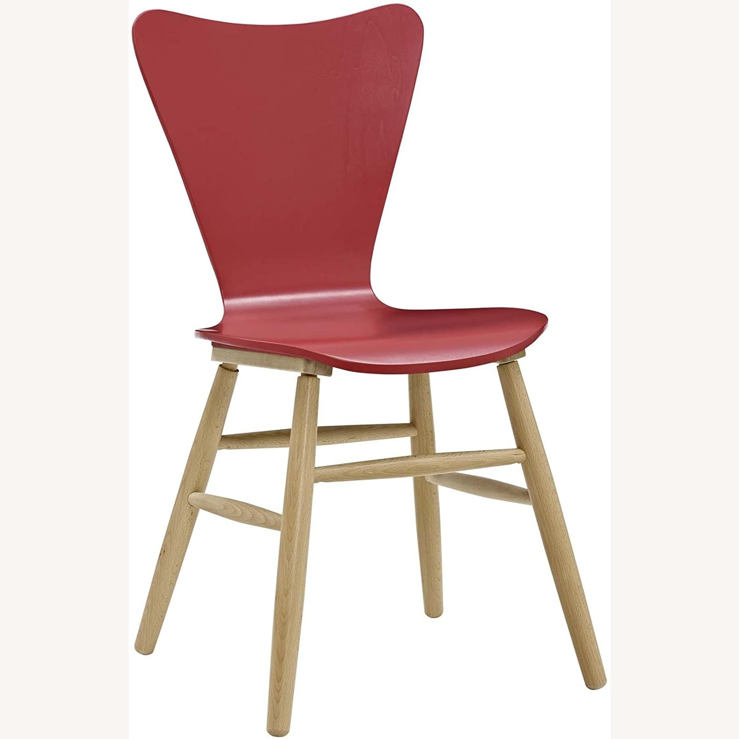 Mid-Century Style Dining Chair In Red Finish - image-0