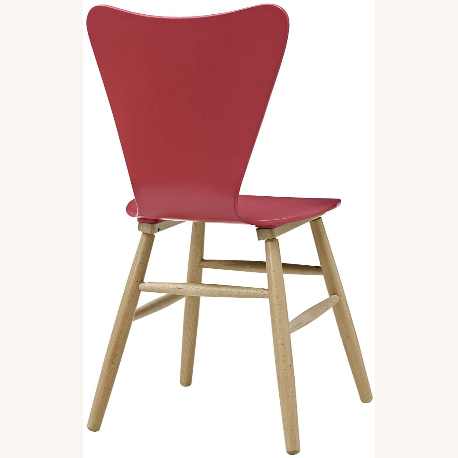 Mid-Century Style Dining Chair In Red Finish - image-2