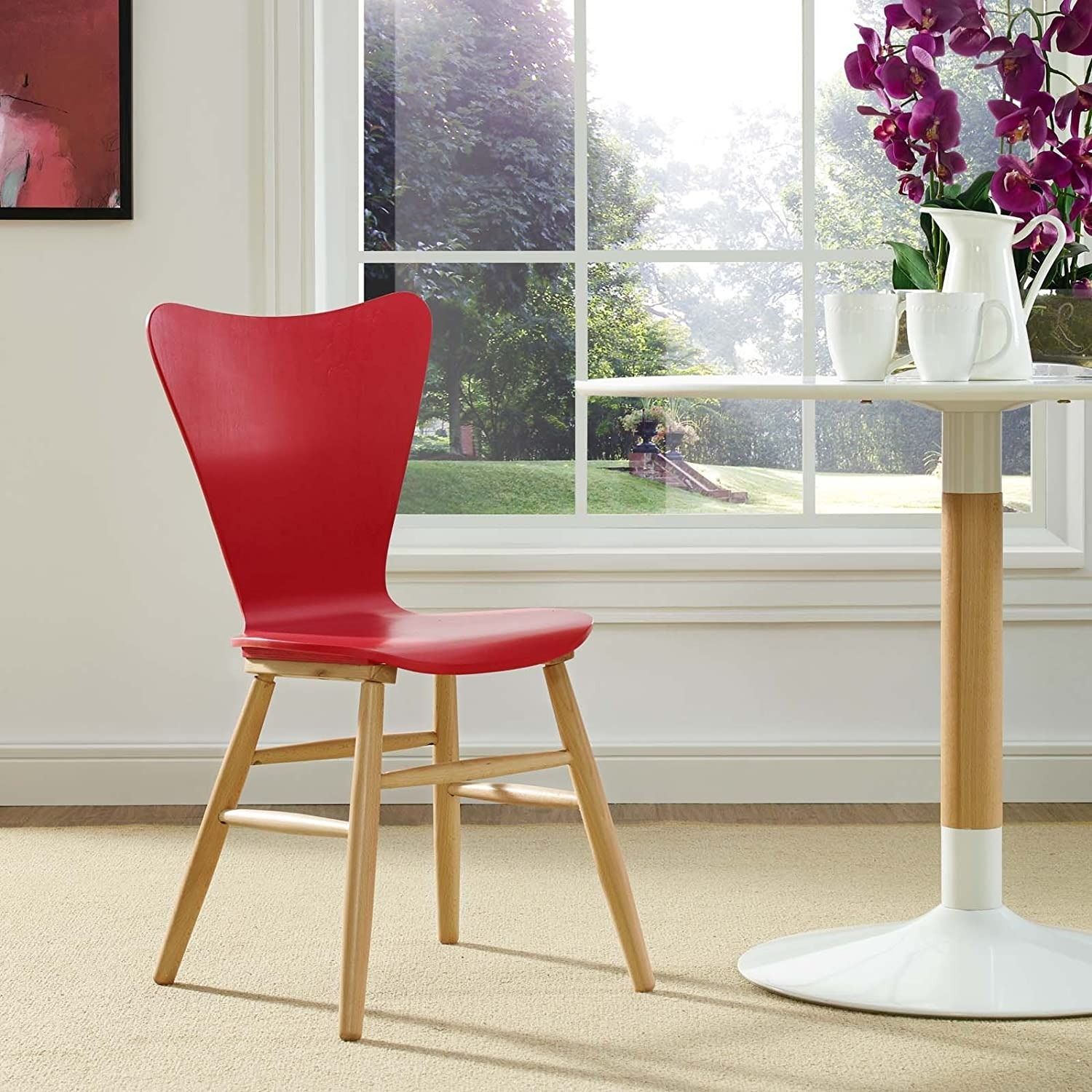 Mid-Century Style Dining Chair In Red Finish - image-3