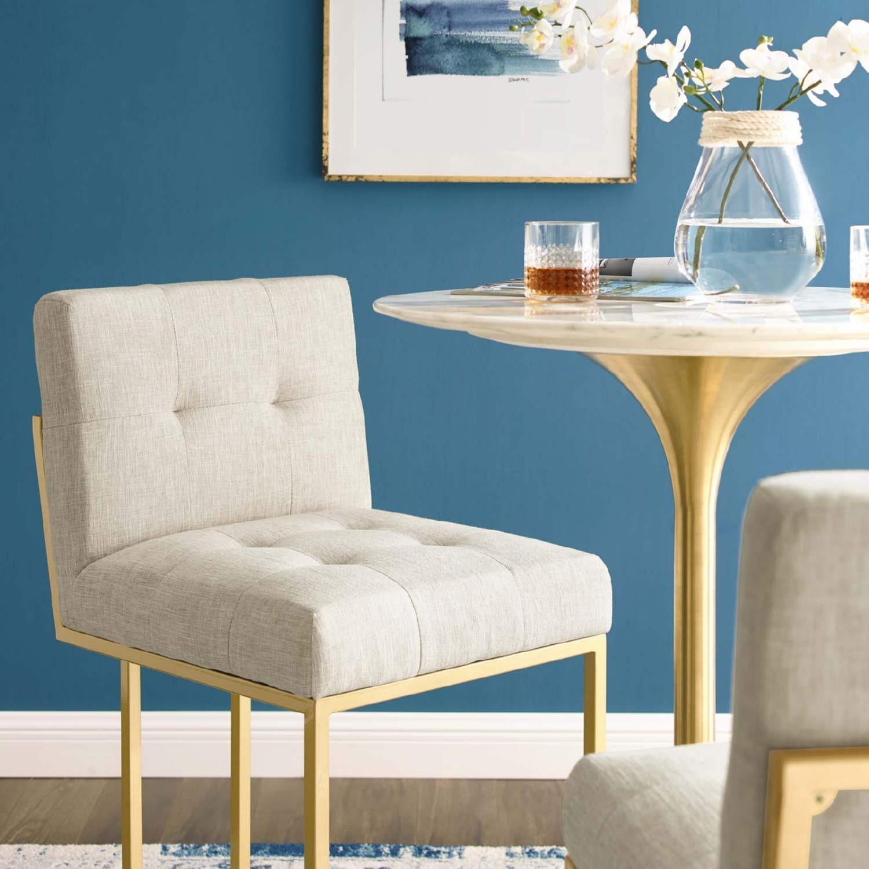 Modern Bar Stool In Beige Fabric & Gold Base - image-6