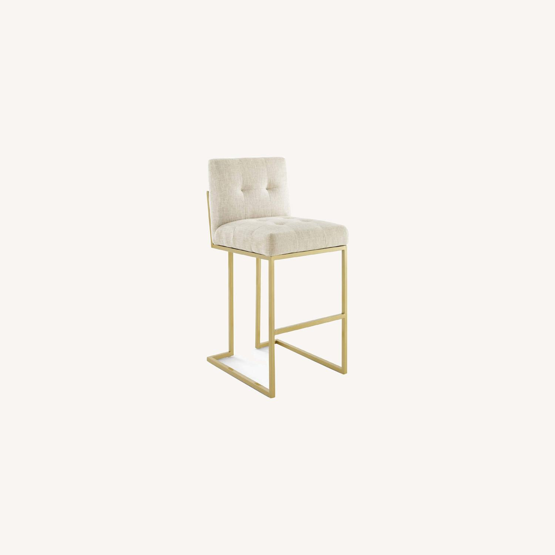 Modern Bar Stool In Beige Fabric & Gold Base - image-8