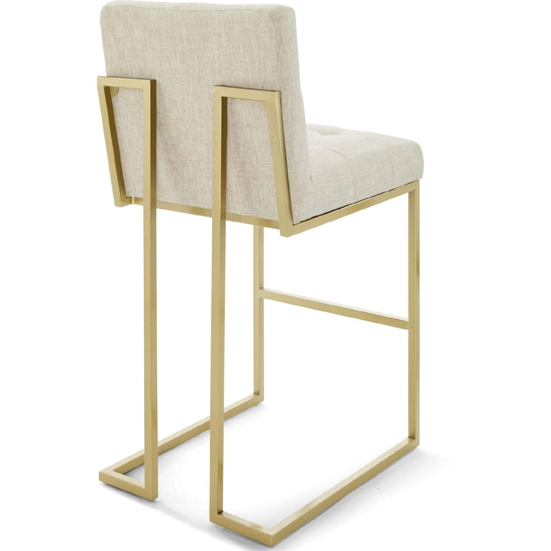 Modern Bar Stool In Beige Fabric & Gold Base - image-2
