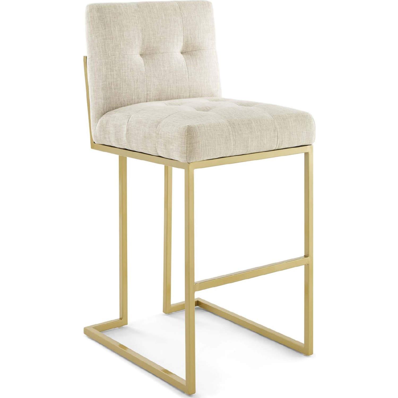 Modern Bar Stool In Beige Fabric & Gold Base - image-0