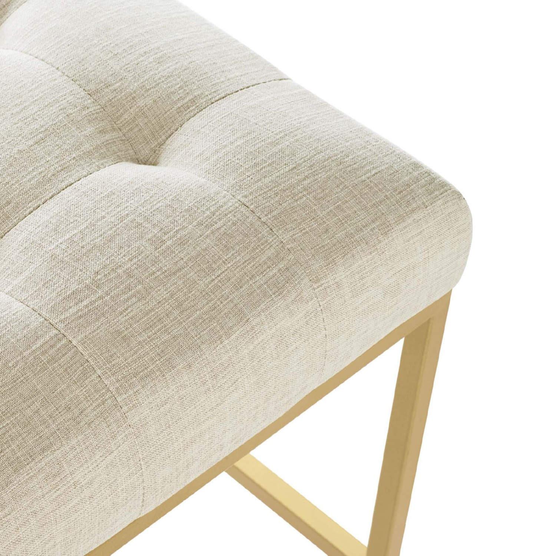 Modern Bar Stool In Beige Fabric & Gold Base - image-4