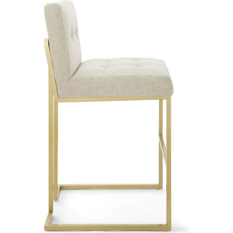 Modern Bar Stool In Beige Fabric & Gold Base - image-1