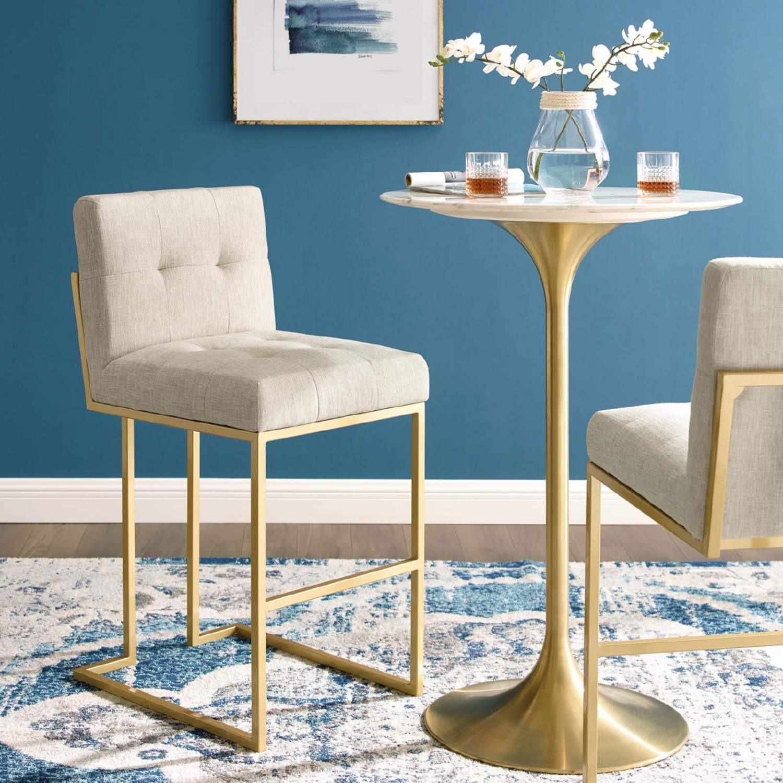 Modern Bar Stool In Beige Fabric & Gold Base - image-7