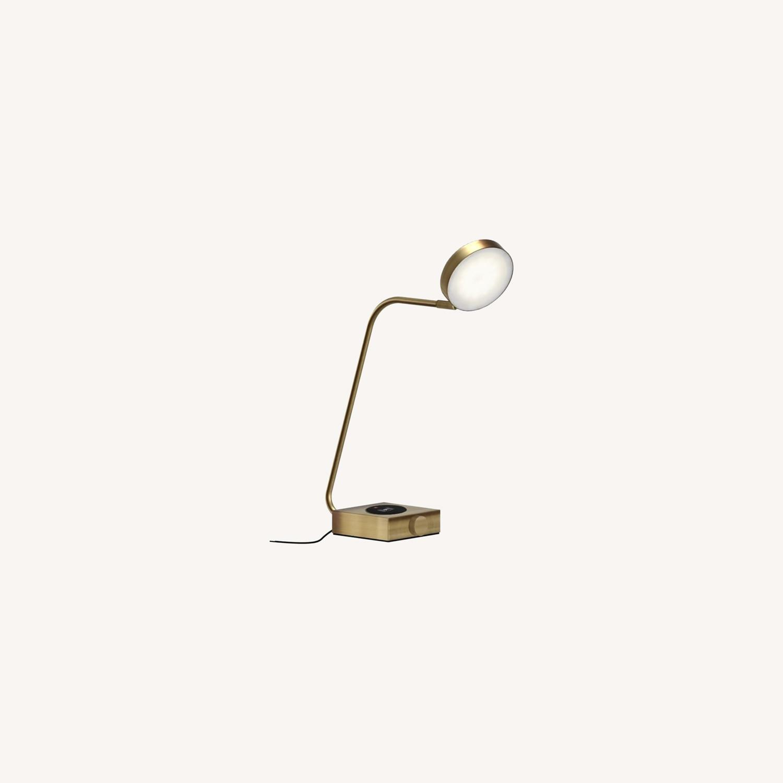 West Elm Industrial Metal LED Charging Lamp, Brass - image-0