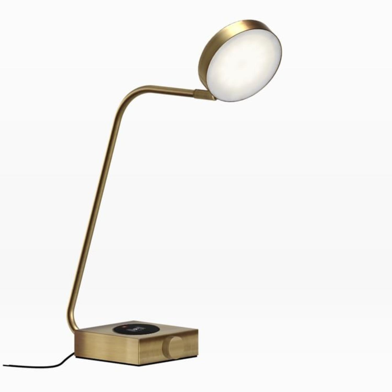 West Elm Industrial Metal LED Charging Lamp, Brass - image-1
