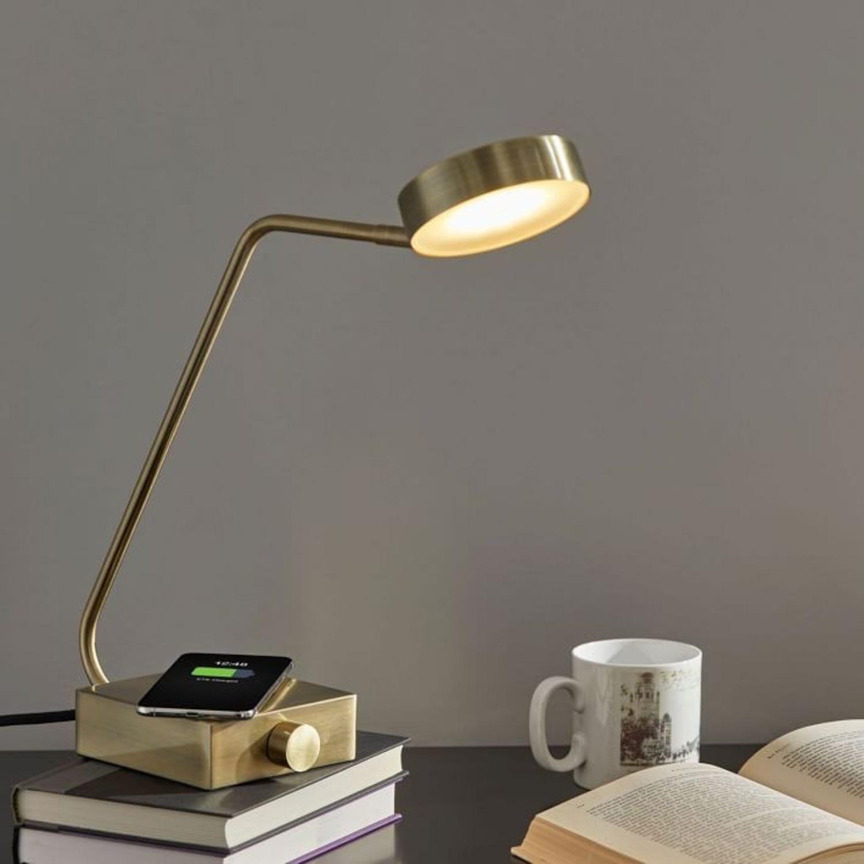 West Elm Industrial Metal LED Charging Lamp, Brass - image-3