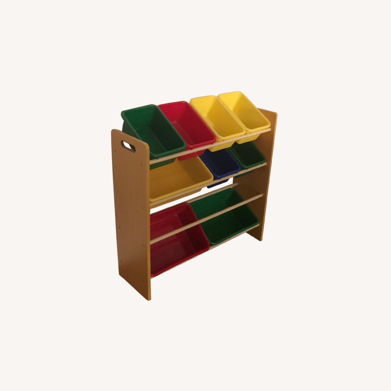 Wood Shelf with Plastic Storage Bins - image-0