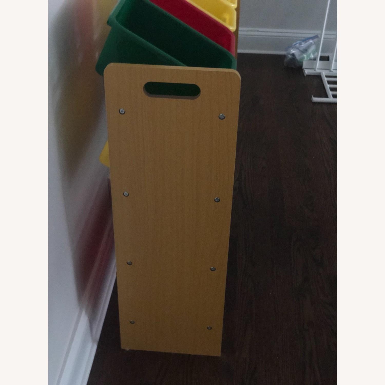 Wood Shelf with Plastic Storage Bins - image-3