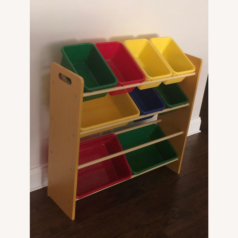 Wood Shelf with Plastic Storage Bins - image-1