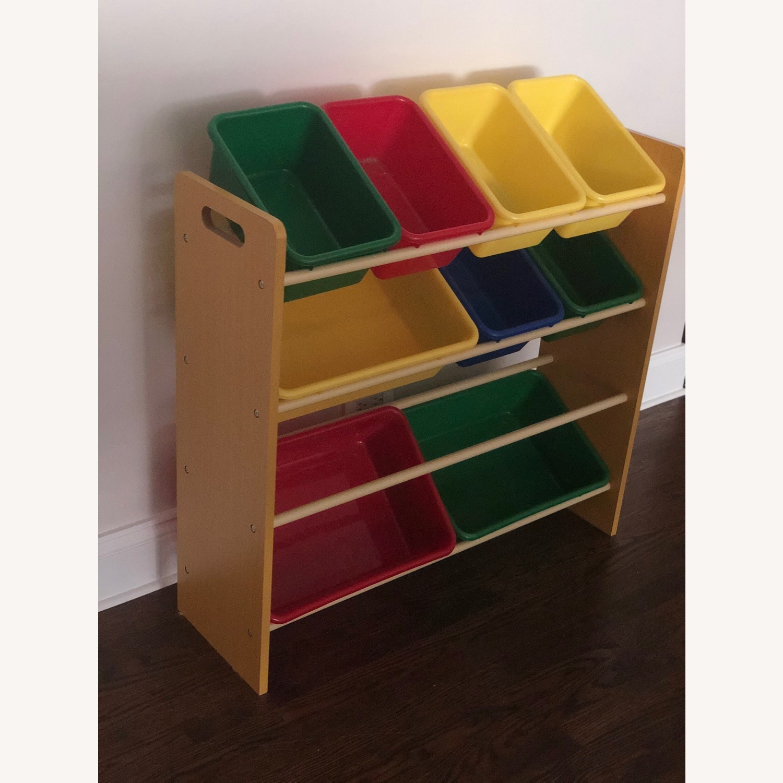 Wood Shelf with Plastic Storage Bins - image-2