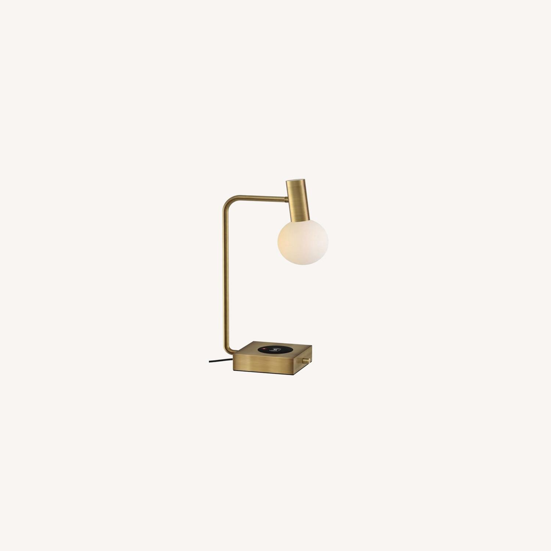 West Elm Modern Deco LED Charging Table Lamp + USB - image-0