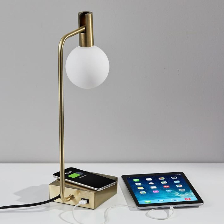 West Elm Modern Deco LED Charging Table Lamp + USB - image-3
