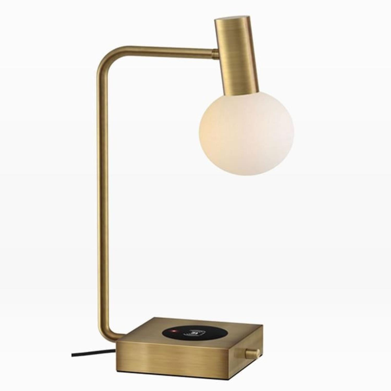 West Elm Modern Deco LED Charging Table Lamp + USB - image-1
