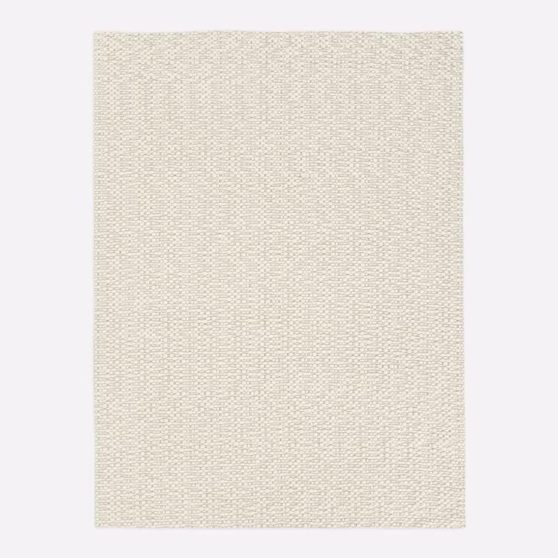 West Elm Slub Stripe Sweater Rug, White, 9'x12' - image-1