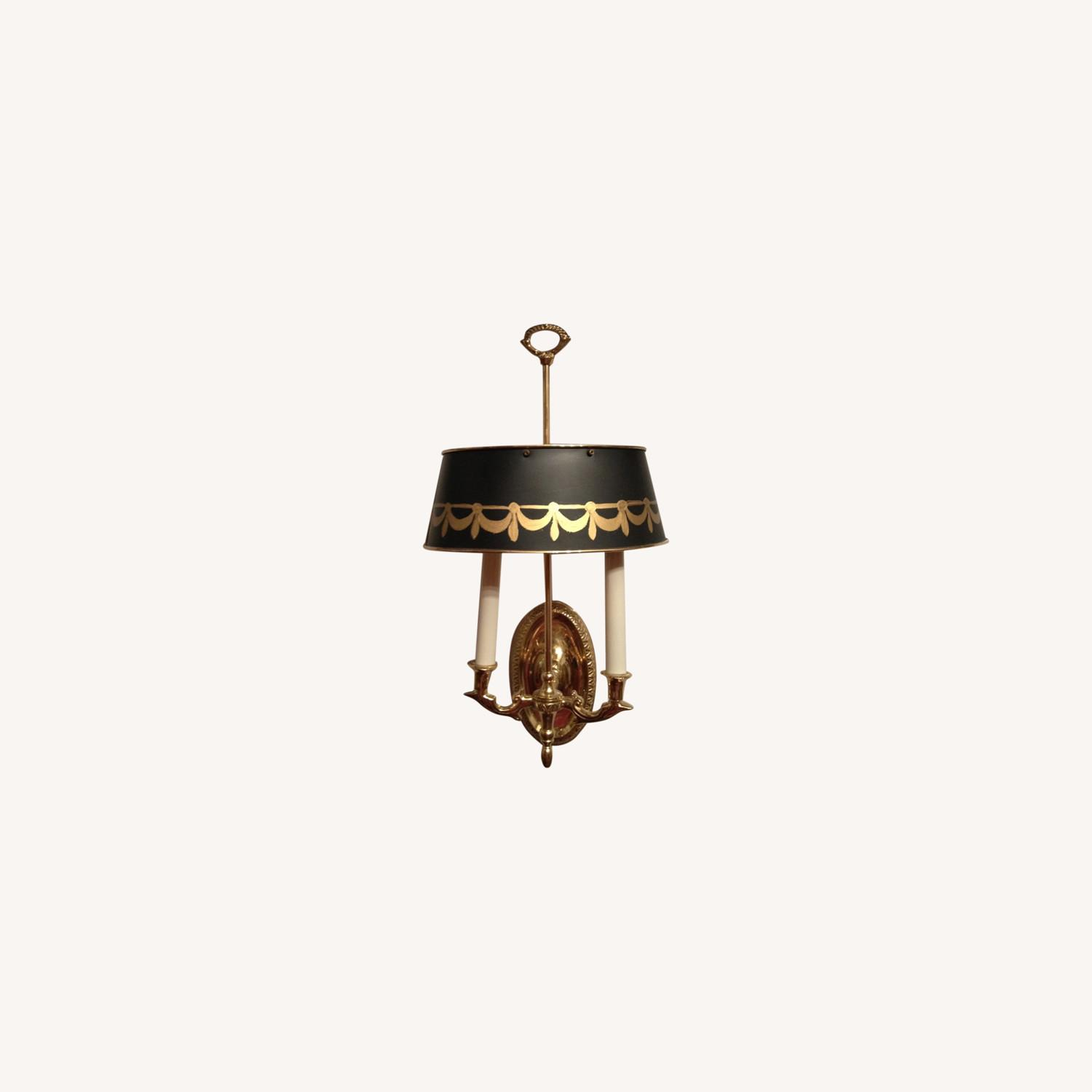 Brass Sconces, Metal Green Tole Shades - image-0