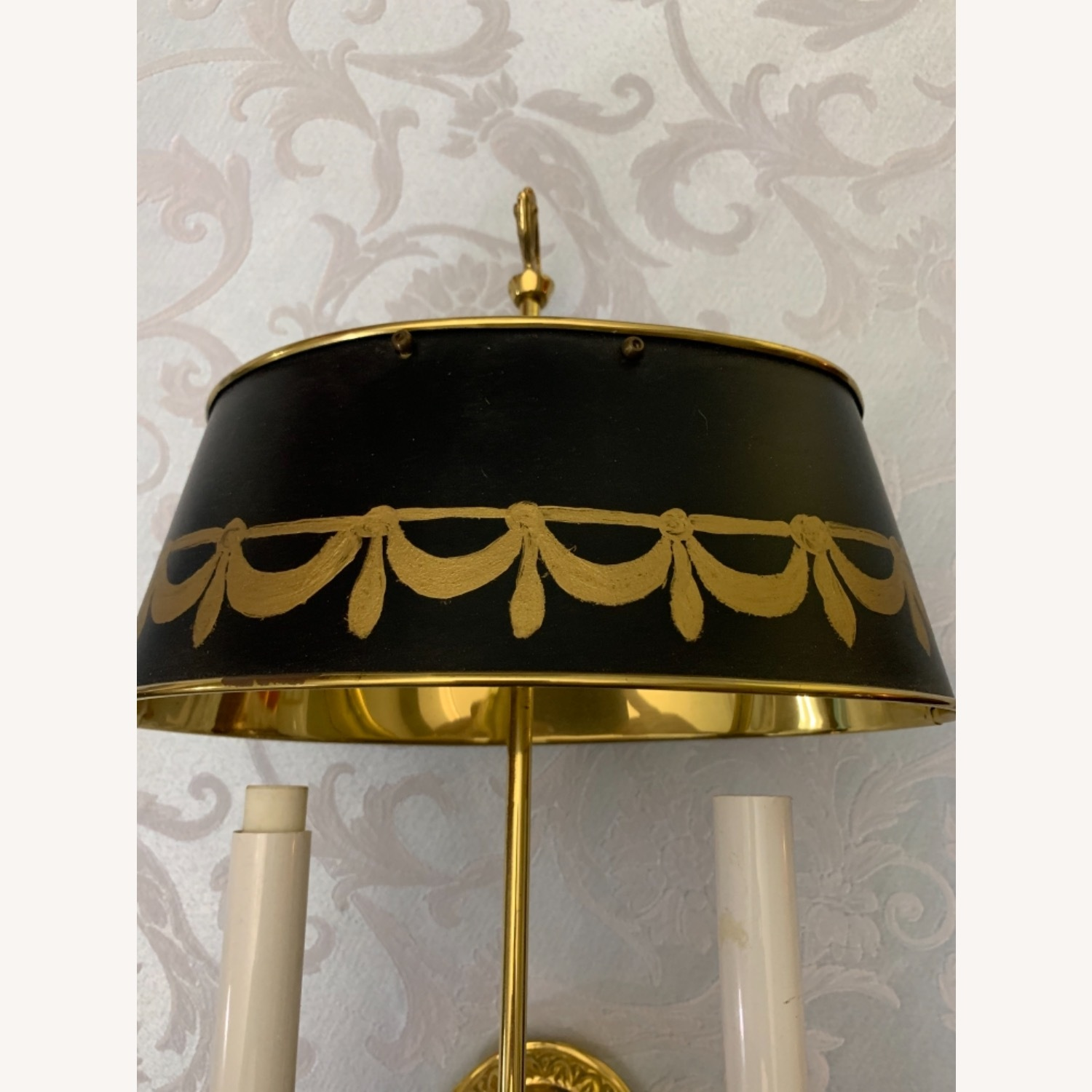 Brass Sconces, Metal Green Tole Shades - image-4