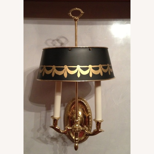 Used Brass Sconces, Metal Green Tole Shades for sale on AptDeco