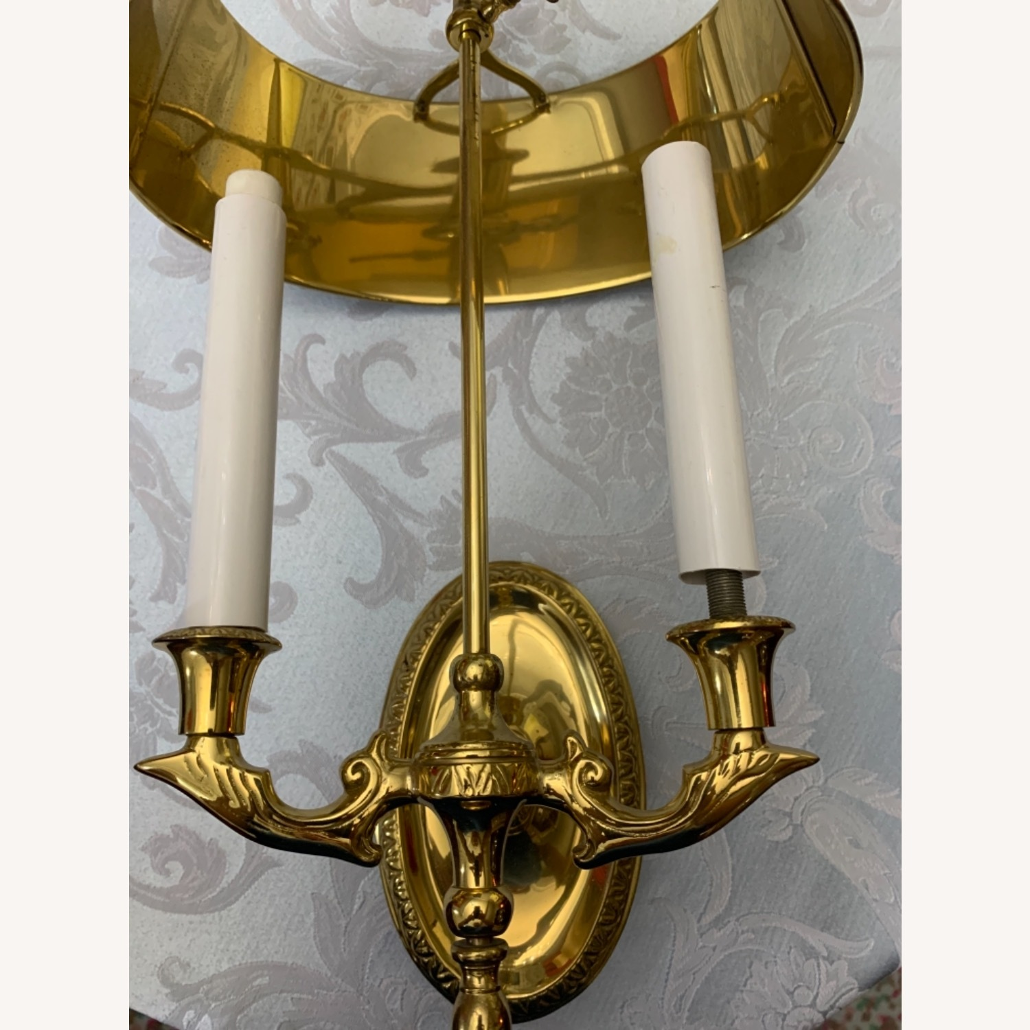 Brass Sconces, Metal Green Tole Shades - image-3