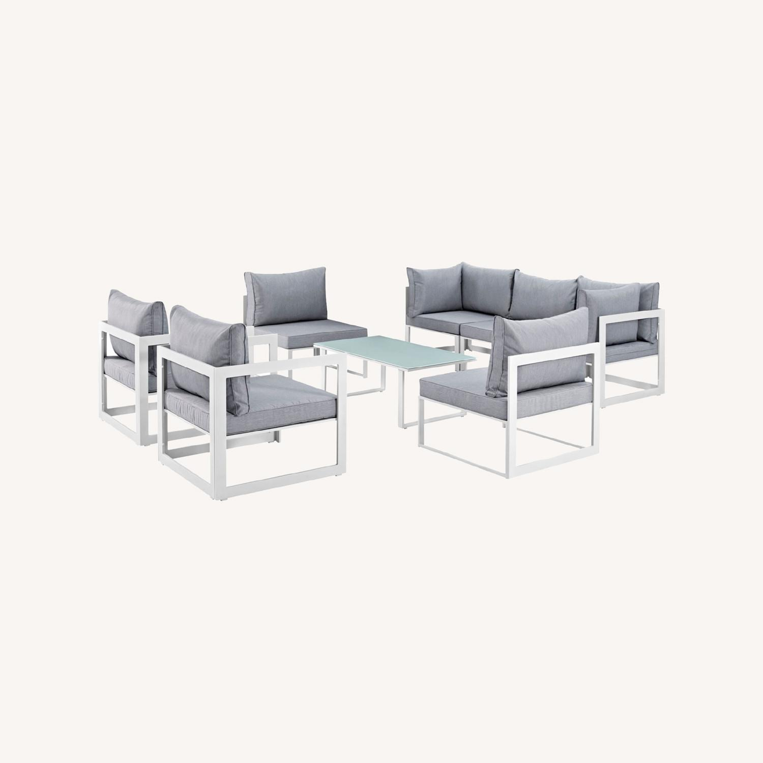 8-Piece Outdoor Sectional In Gray Fabric Finish - image-7