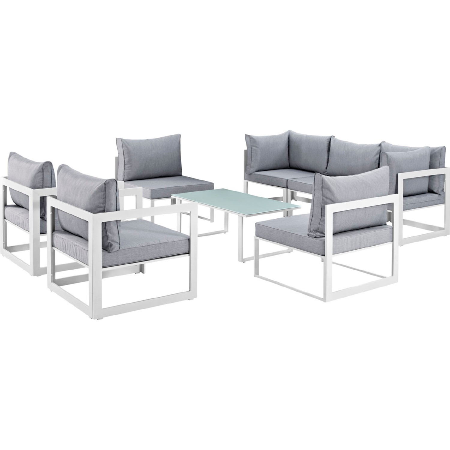 8-Piece Outdoor Sectional In Gray Fabric Finish - image-0