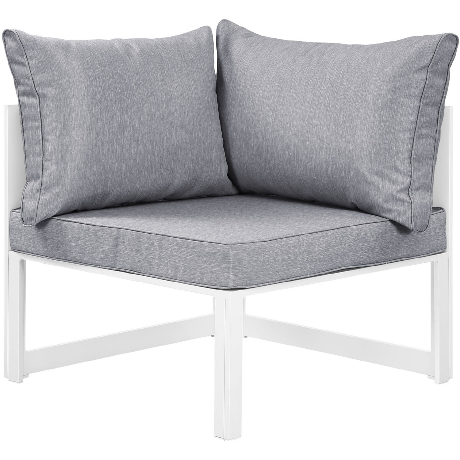 7-Piece Outdoor Sectional In Gray & White Finish - image-3