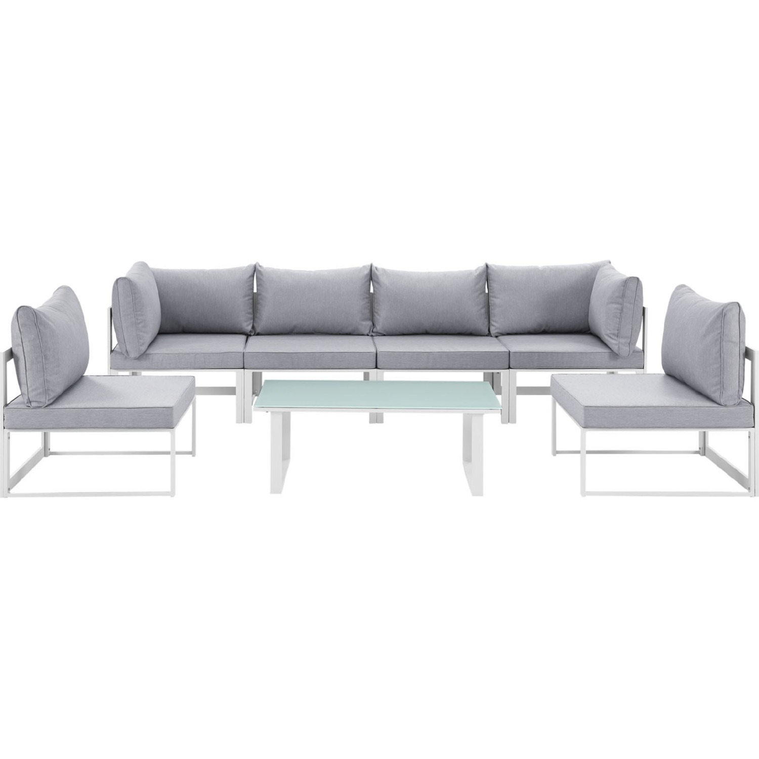 7-Piece Outdoor Sectional In Gray & White Finish - image-0
