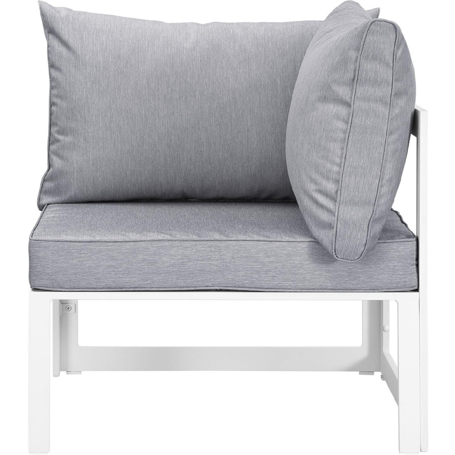 7-Piece Outdoor Sectional In Gray & White Finish - image-4