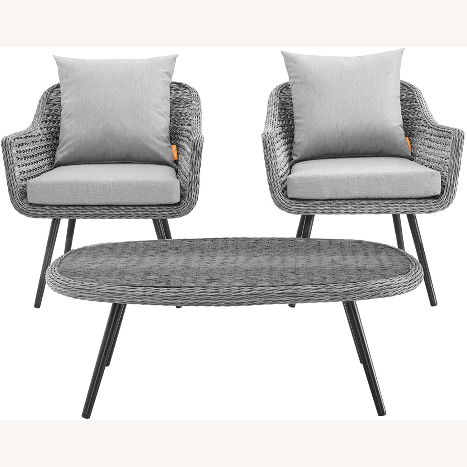 3-Piece Outdoor Sectional In Gray-On-Gray Tone - image-2