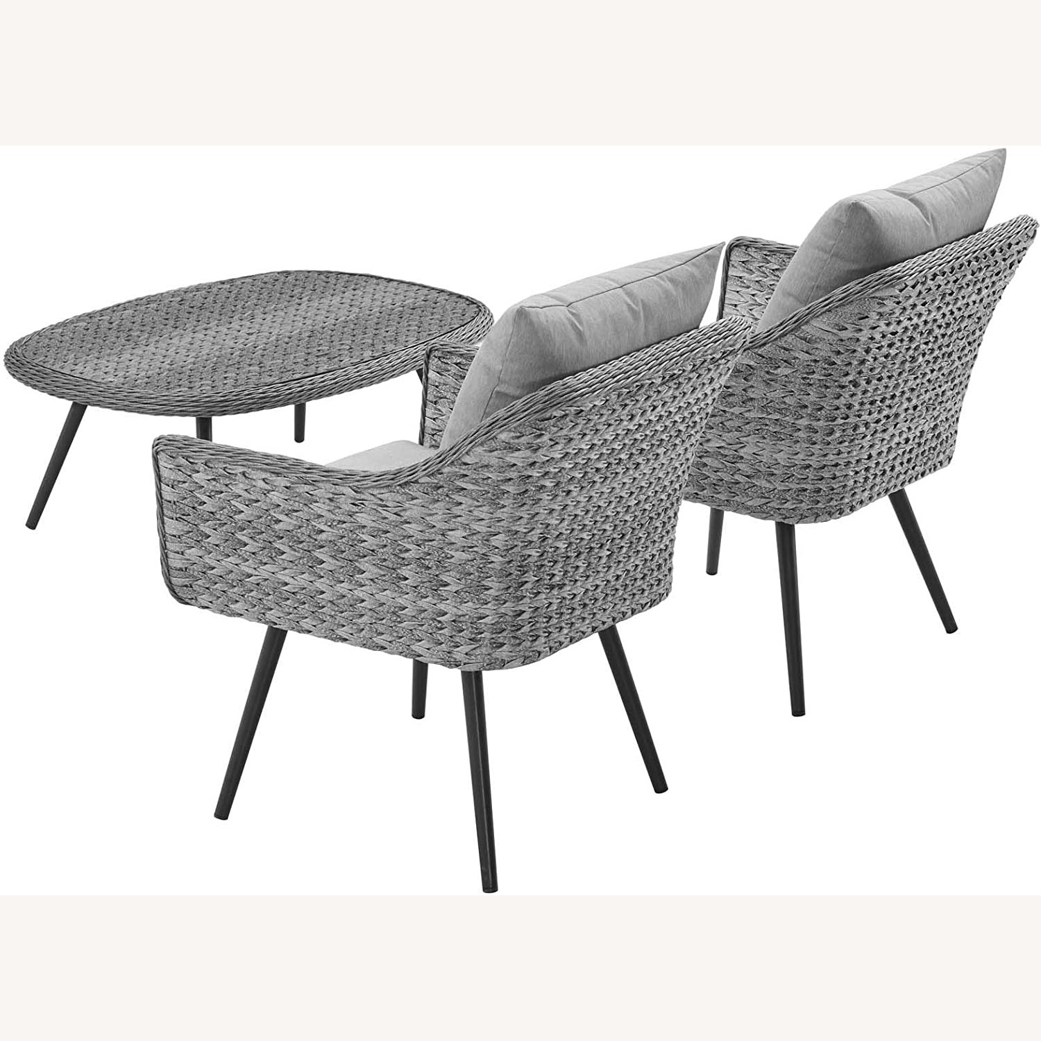 3-Piece Outdoor Sectional In Gray-On-Gray Tone - image-1
