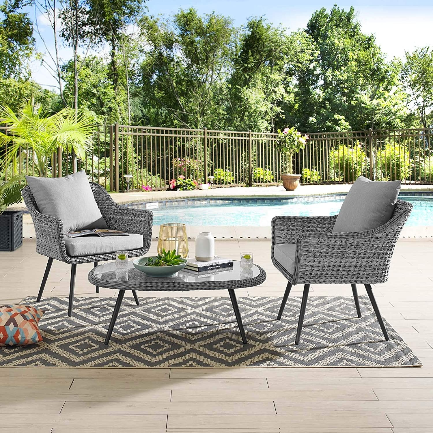 3-Piece Outdoor Sectional In Gray-On-Gray Tone - image-3