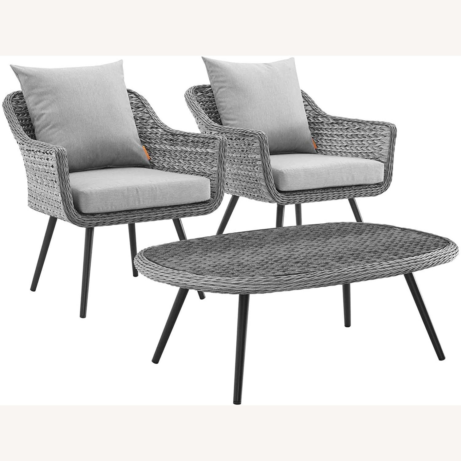 3-Piece Outdoor Sectional In Gray-On-Gray Tone - image-0