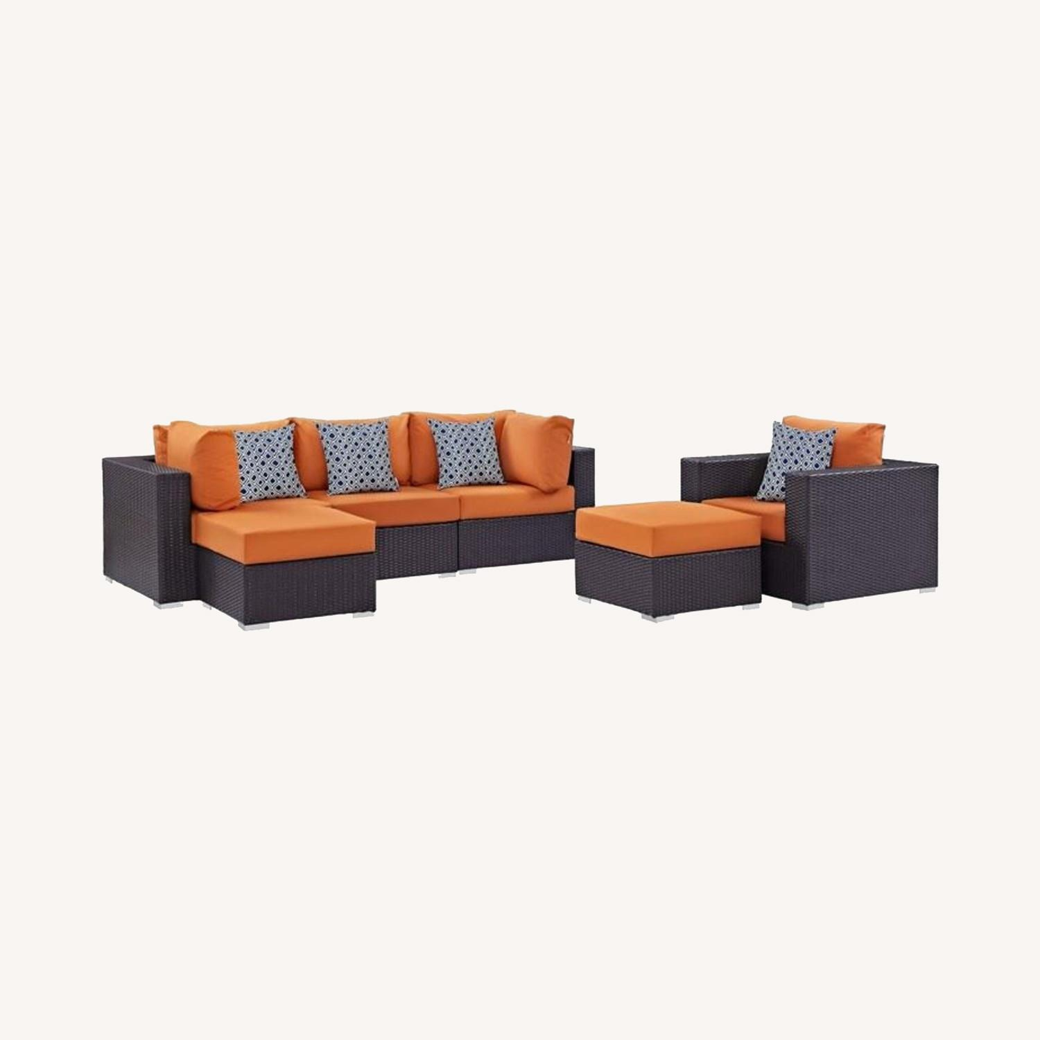 6-Piece Outdoor Sectional In Orange Fabric - image-5