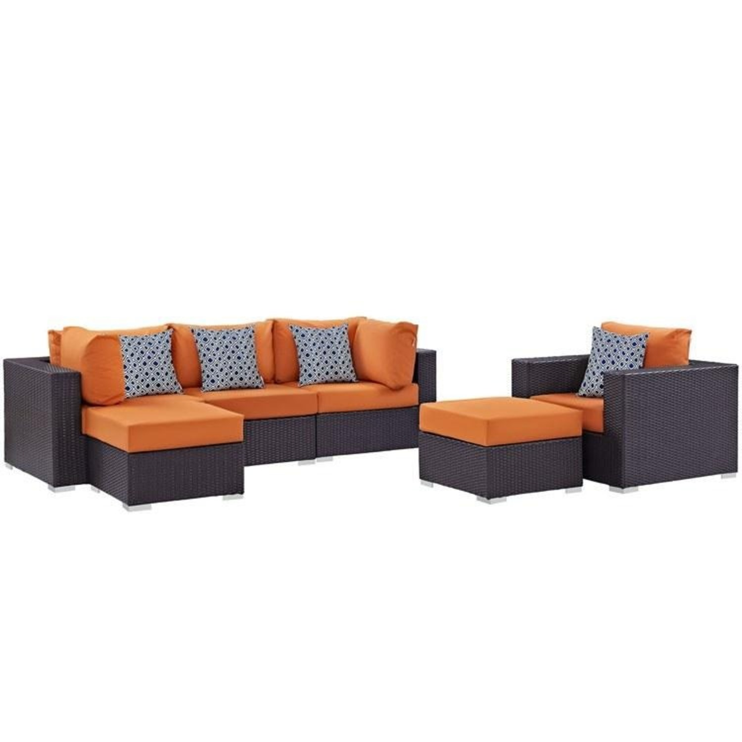 6-Piece Outdoor Sectional In Orange Fabric - image-0