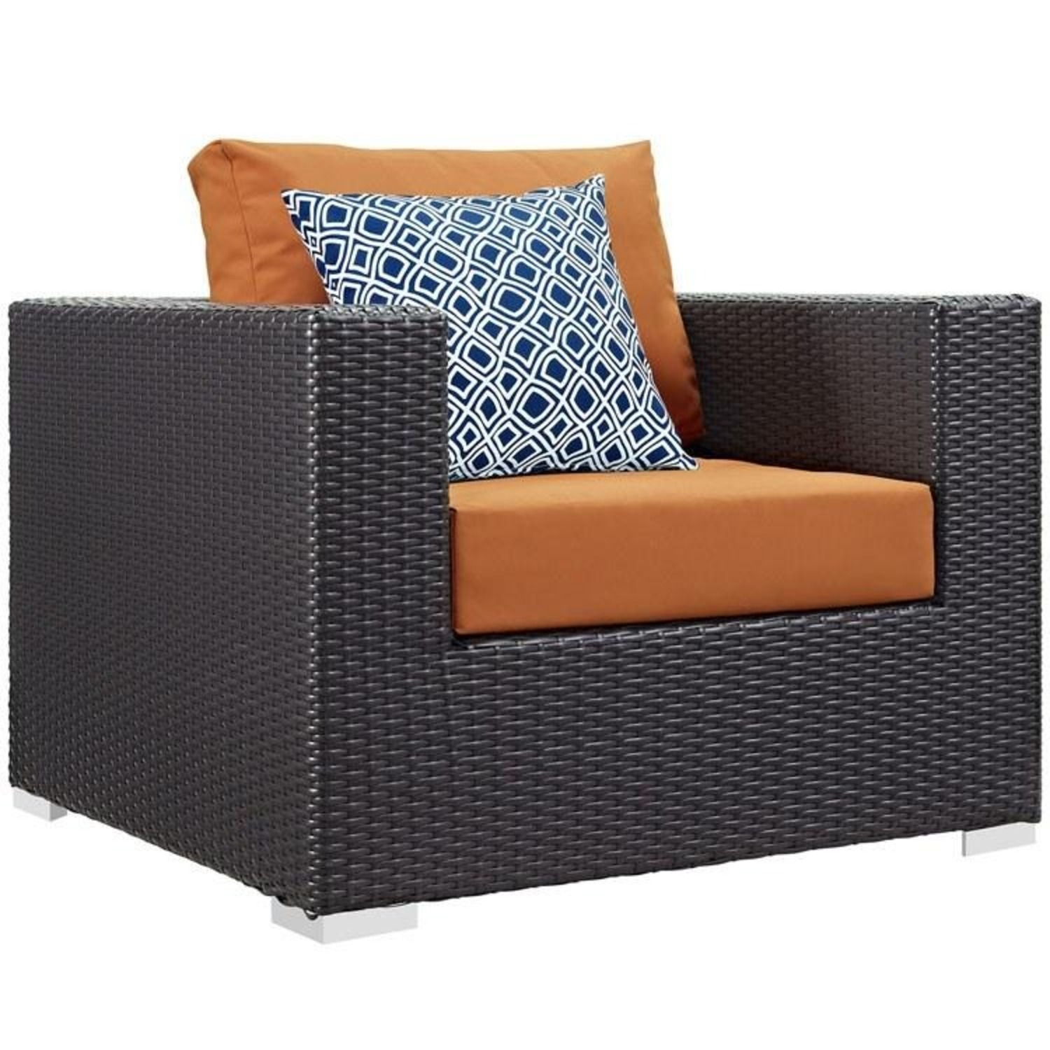 6-Piece Outdoor Sectional In Orange Fabric - image-1