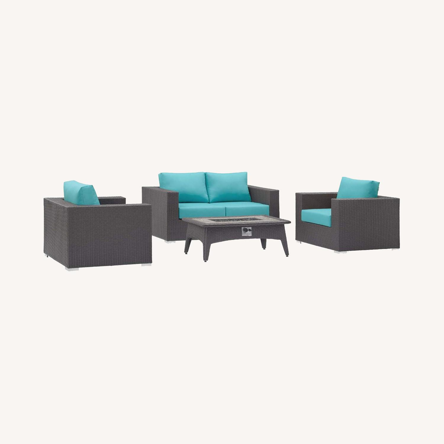 4-Piece Outdoor Sectional In Turquoise W/ Fire Pit - image-7