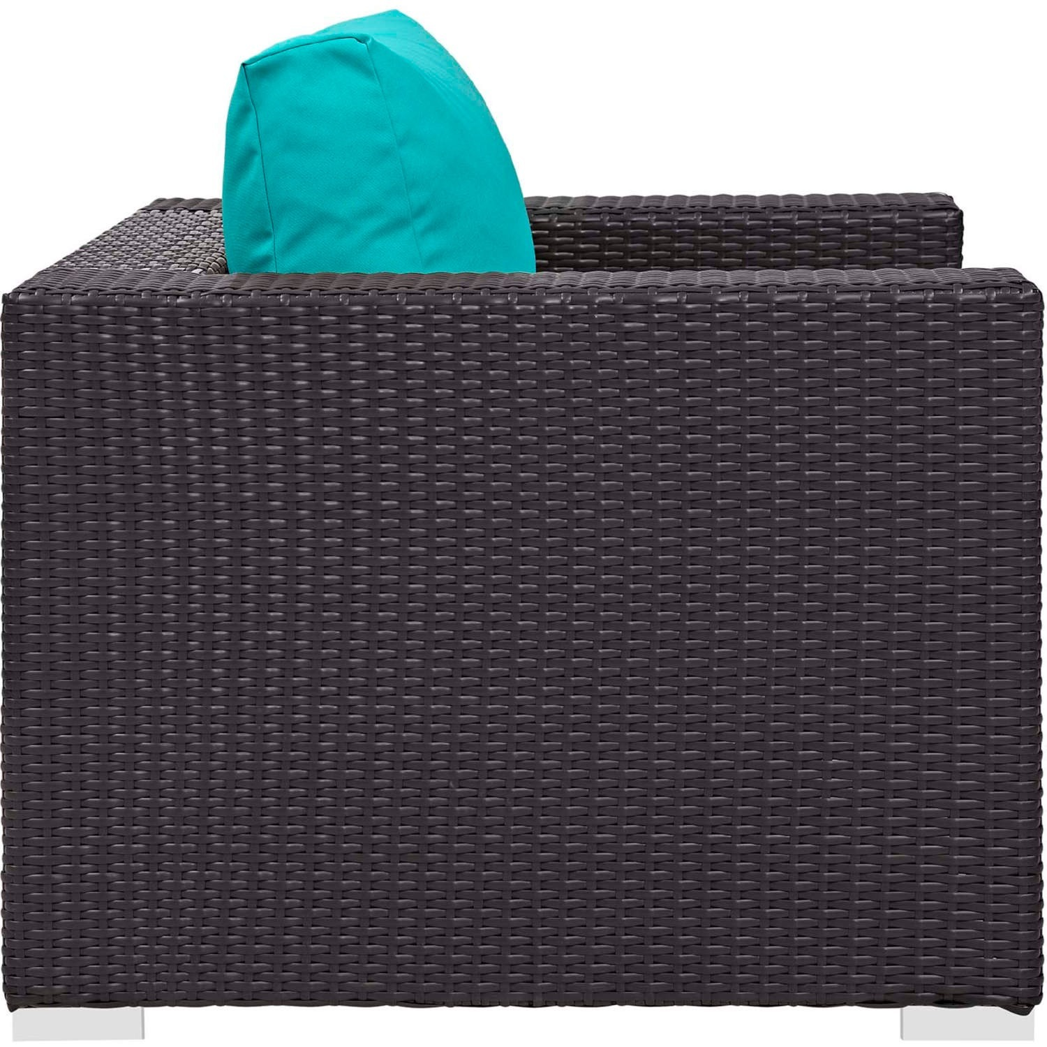 4-Piece Outdoor Sectional In Turquoise W/ Fire Pit - image-3