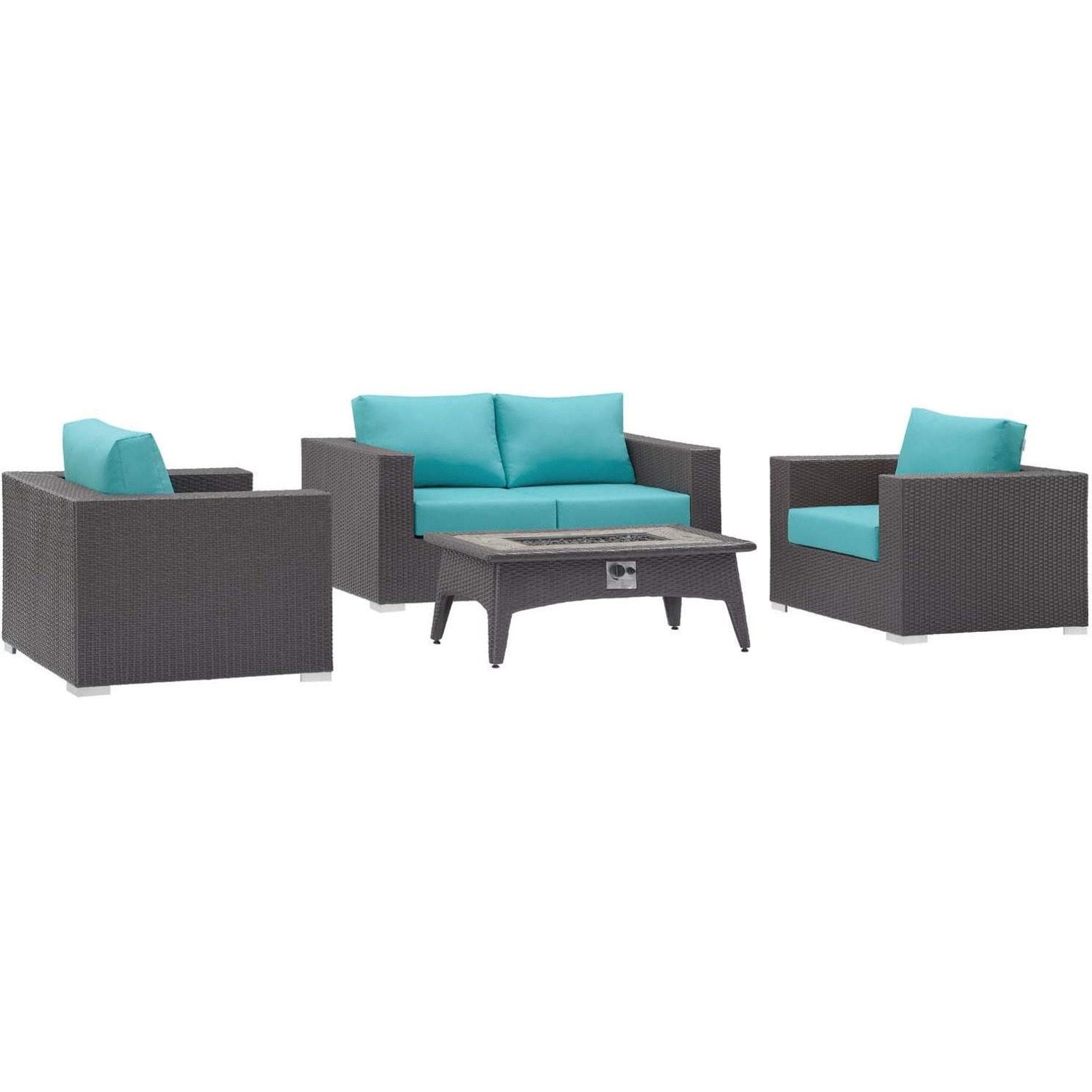 4-Piece Outdoor Sectional In Turquoise W/ Fire Pit - image-0