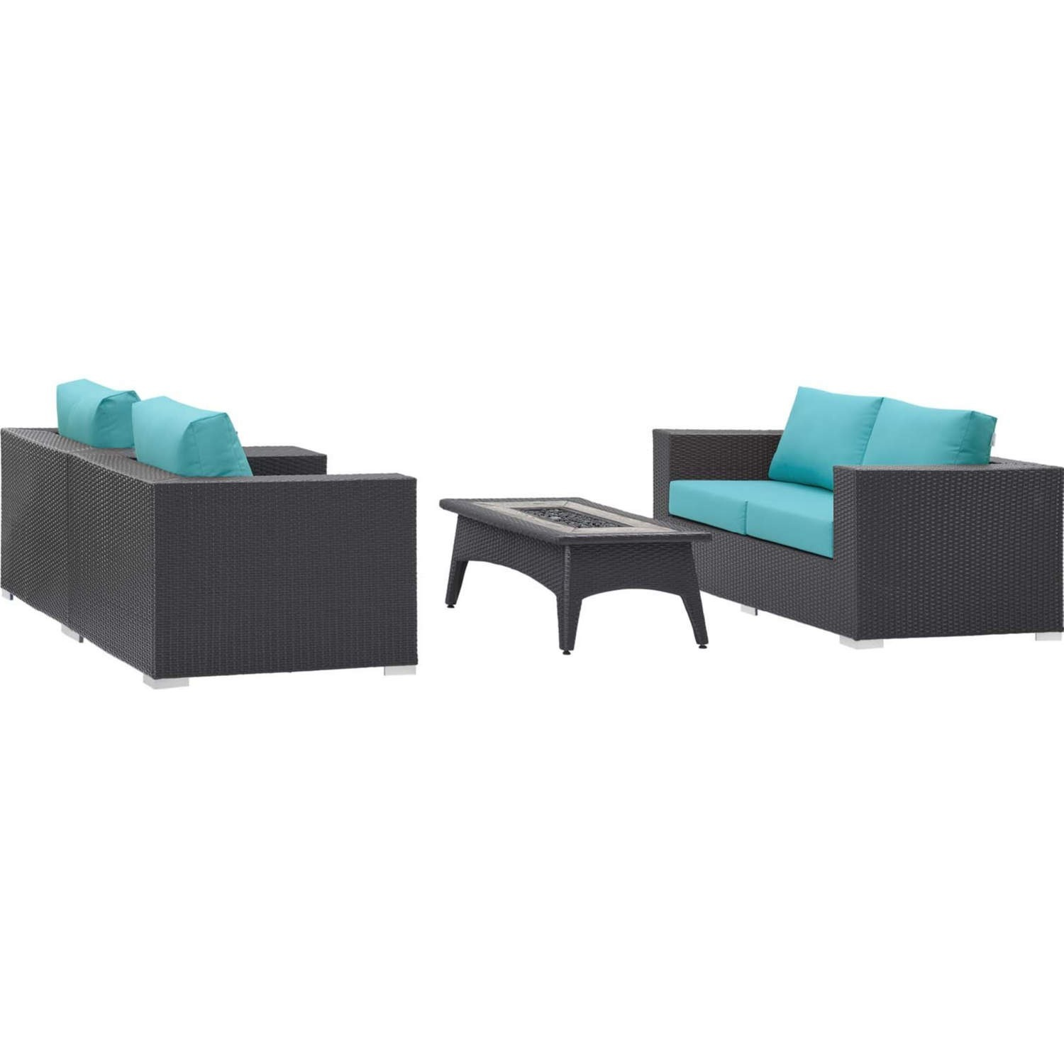 4-Piece Outdoor Sectional In Turquoise W/ Fire Pit - image-1