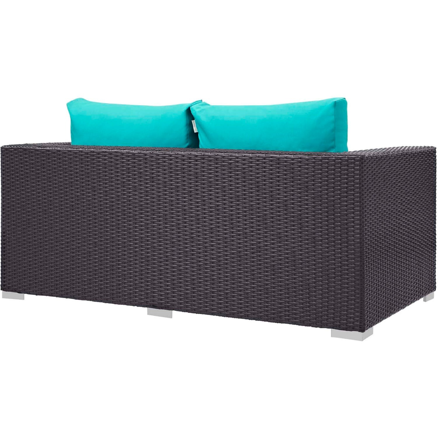 4-Piece Outdoor Sectional In Turquoise W/ Fire Pit - image-5