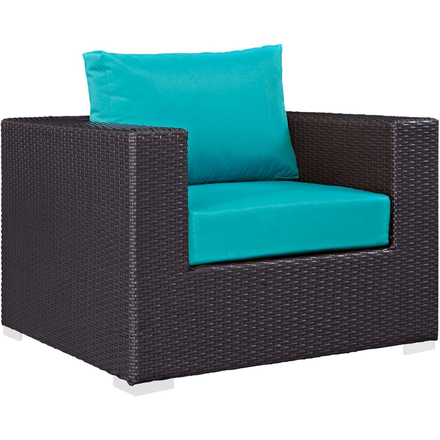 4-Piece Outdoor Sectional In Turquoise W/ Fire Pit - image-2