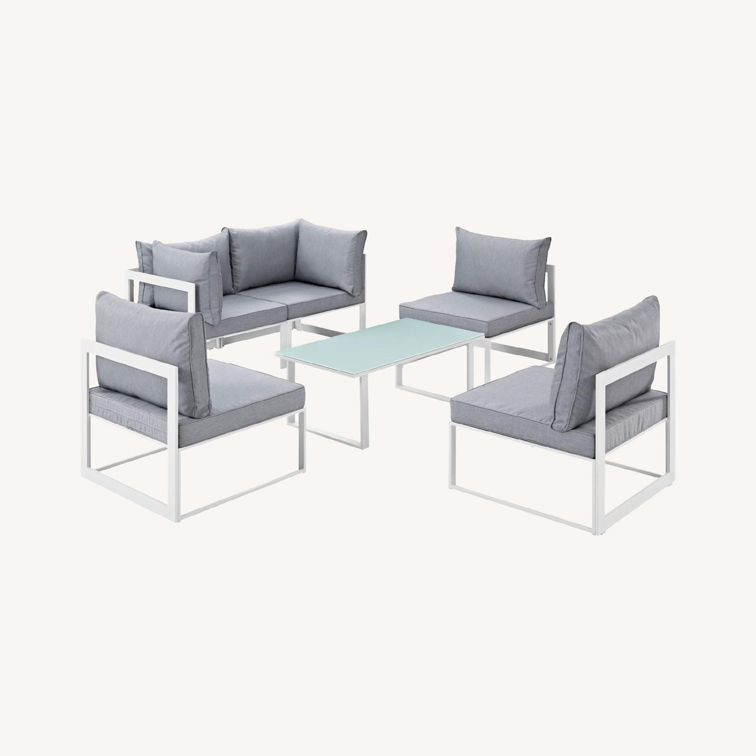 6-Piece Outdoor Sectional In Gray Cushion Fabric - image-7