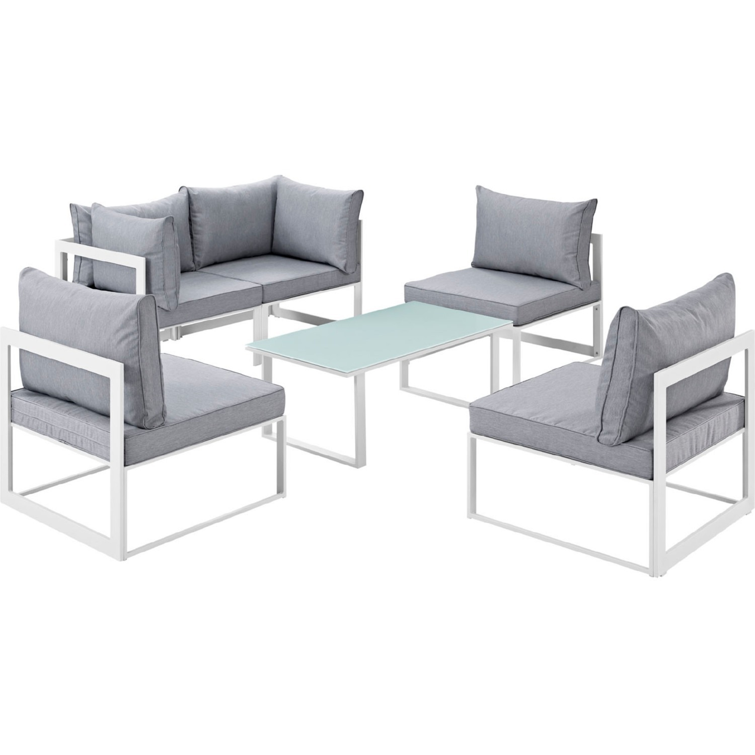 6-Piece Outdoor Sectional In Gray Cushion Fabric - image-0
